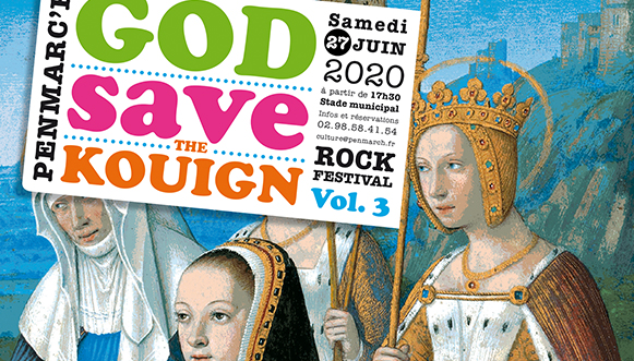 God save the Kouign Vol.3, rock festival in Penmarc'h, 2020 - 70 x 100 cm - offset - Imprimerie Tanguy, Pont-l'Abbé. GSTK association, Penmarc'h.